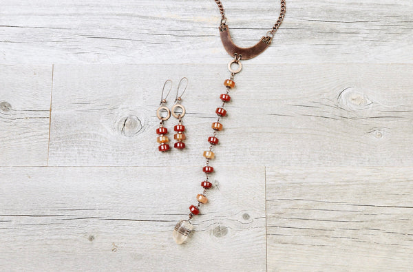 Carnelian Agate & Quartz Leather Boho Necklace - Red Orange Umber Statement Choker Gypsy Stone Gemstone Unique Bohemian Handmade Jewelry Set