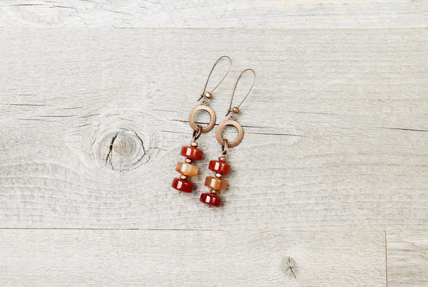 Carnelian Agate Long Loop Boho Earrings - Red Orange Umber Statement Gypsy Stone Gemstone Dangle Unique Bohemian Chic Handmade Jewelry Set