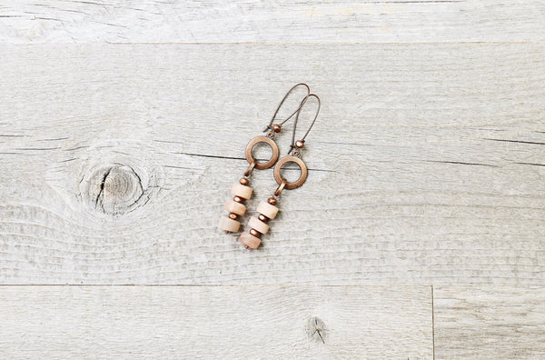 Moonstone Long Loop Boho Earrings, Peach Cream Statement Raw Cute Gypsy Stone Gemstone Grey Dangle Unique Bohemian Chic Handmade Jewelry Set