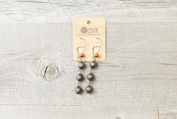 Charcoal Gray Hematite Earrings - Matte Metallic Boho Statement Long Gypsy Stone Gemstone Bohemian Chic Necklace Jewelry Set Gift for Her