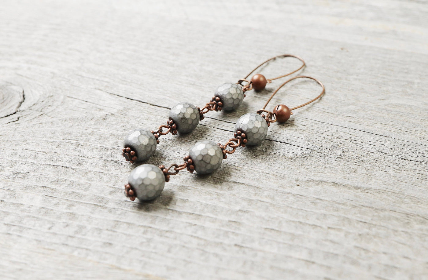 Silver Hematite Earrings - Matte Metallic Bronze Brass Boho Statement Long Gypsy Stone Gemstone Bohemian Chic Necklace Jewelry Set