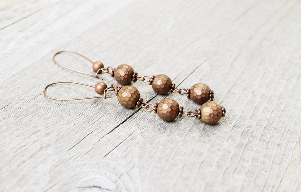 Copper Hematite Earrings - Boho Statement Long Gypsy Stone Gemstone Bohemian Simple Cute Gift Chic Matte Metallic Brown Necklace Jewelry Set