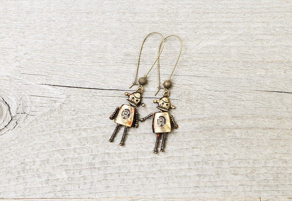 Robot Earrings - Tech Geek Fantasy Technology Sci Fi Alien Humanoid Engineer Robotics Steampunk Jewelry Unique Funky Quirky Antique Vintage