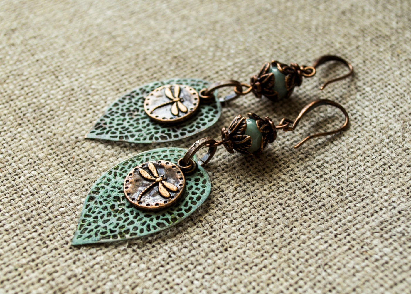 Boho Leaf Earrings, Vintage Dragonfly Earrings, Metal Patina Leaf Earrings, Blue Earrings