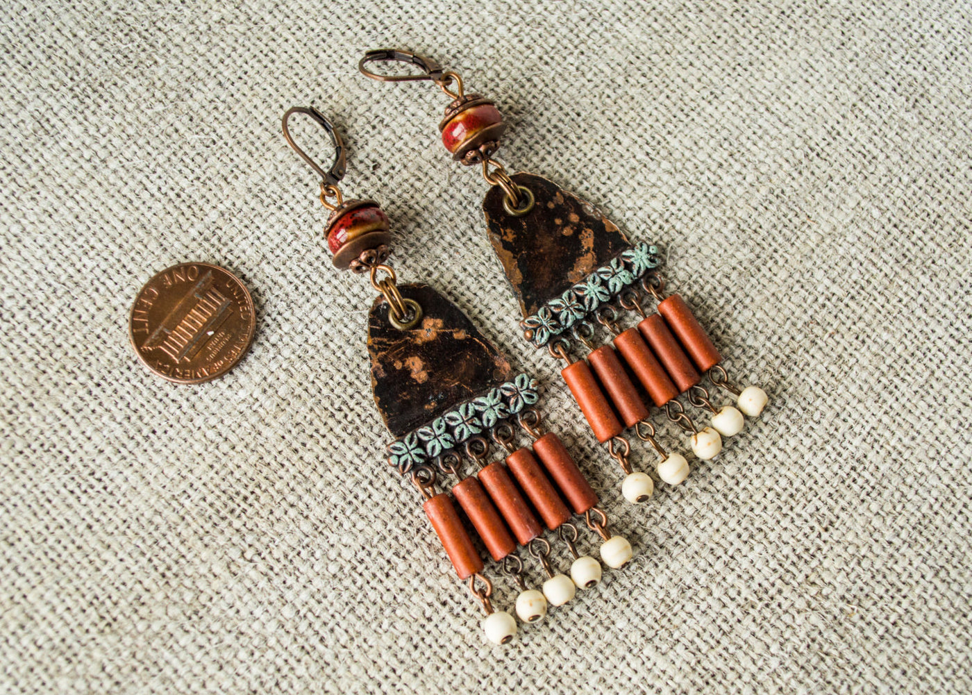 Ethnic Metal Gypsy Dangle Boho African Ethnic Earrings, Unique Rustic Colorful Red White Eclectic Bohemian Distressed Original Earrings