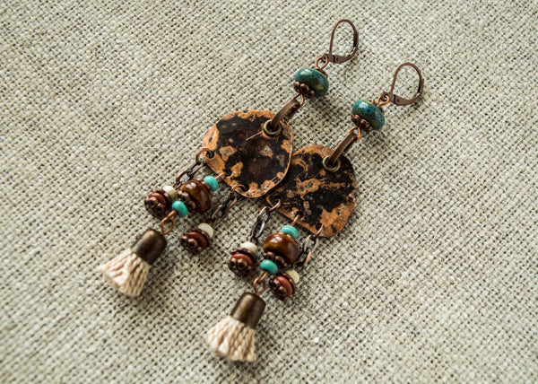 Boho Spirit, Gypsy Metal Earrings, Ethnic African Earrings, E021