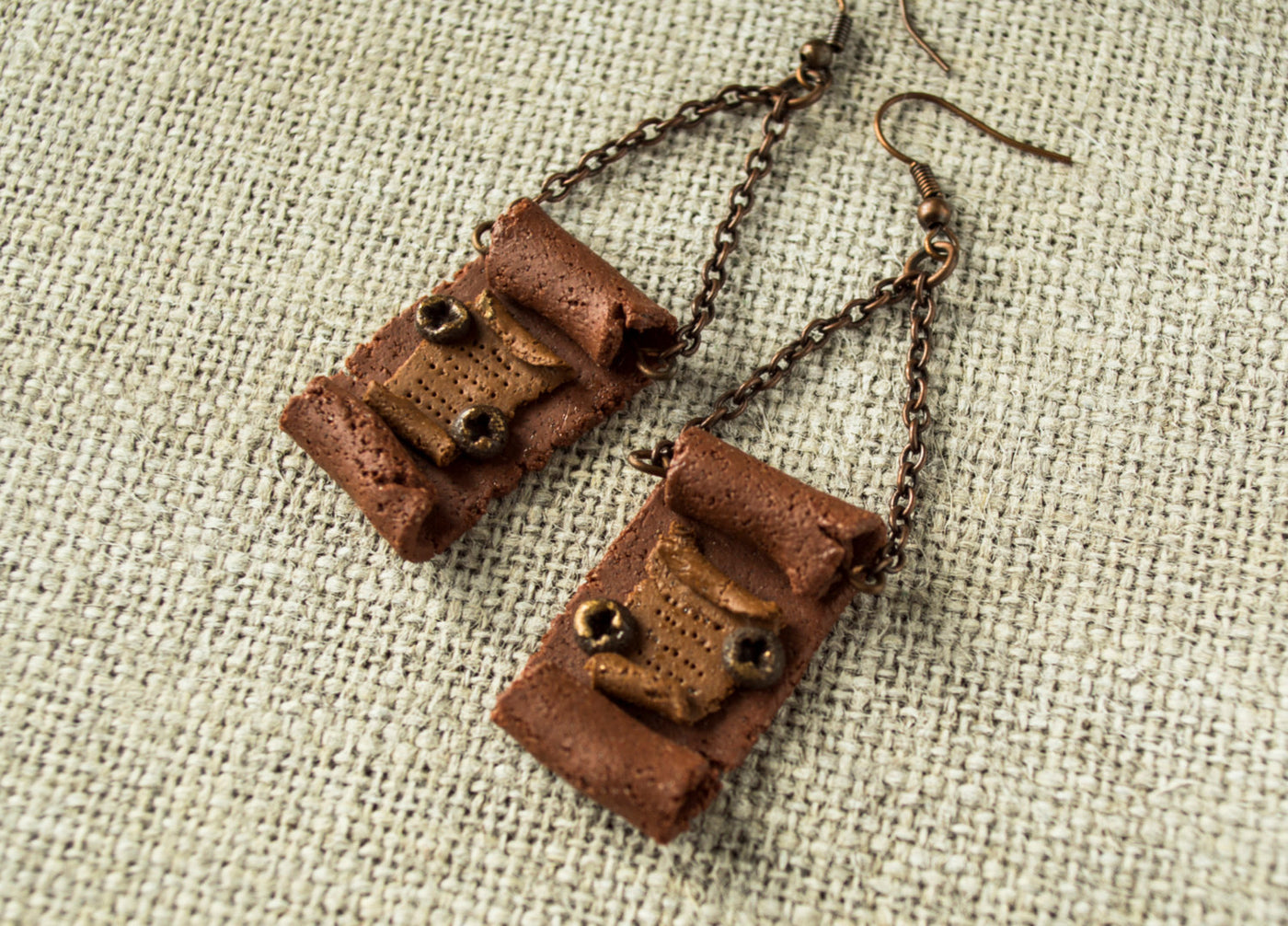 Clay Scrolls Boho Gypsy Chain Rustic Bohemian Gypsy Earrings, Handmade Ancient Steampunk Manuscript Historical Rustic Unique Earrings