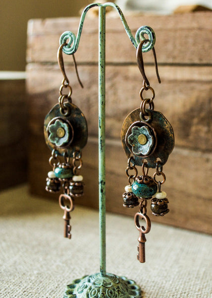 Boho Flower Earrings, Rustic Metal Earrings, Earthy Key Earrings, Gypsy Statement Earrings
