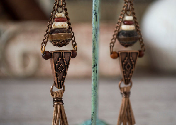 Gypsy Boho Ethnic African Earrings - Agate Native Indian American Western Stone Triangle Leather Tassel Geometric Rustic Earthy Jewelry