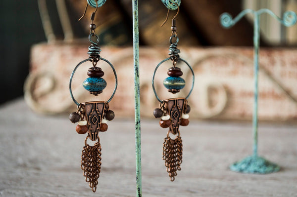 Gypsy Dangles, Boho Earrings, Ethnic/Native Earrings E025