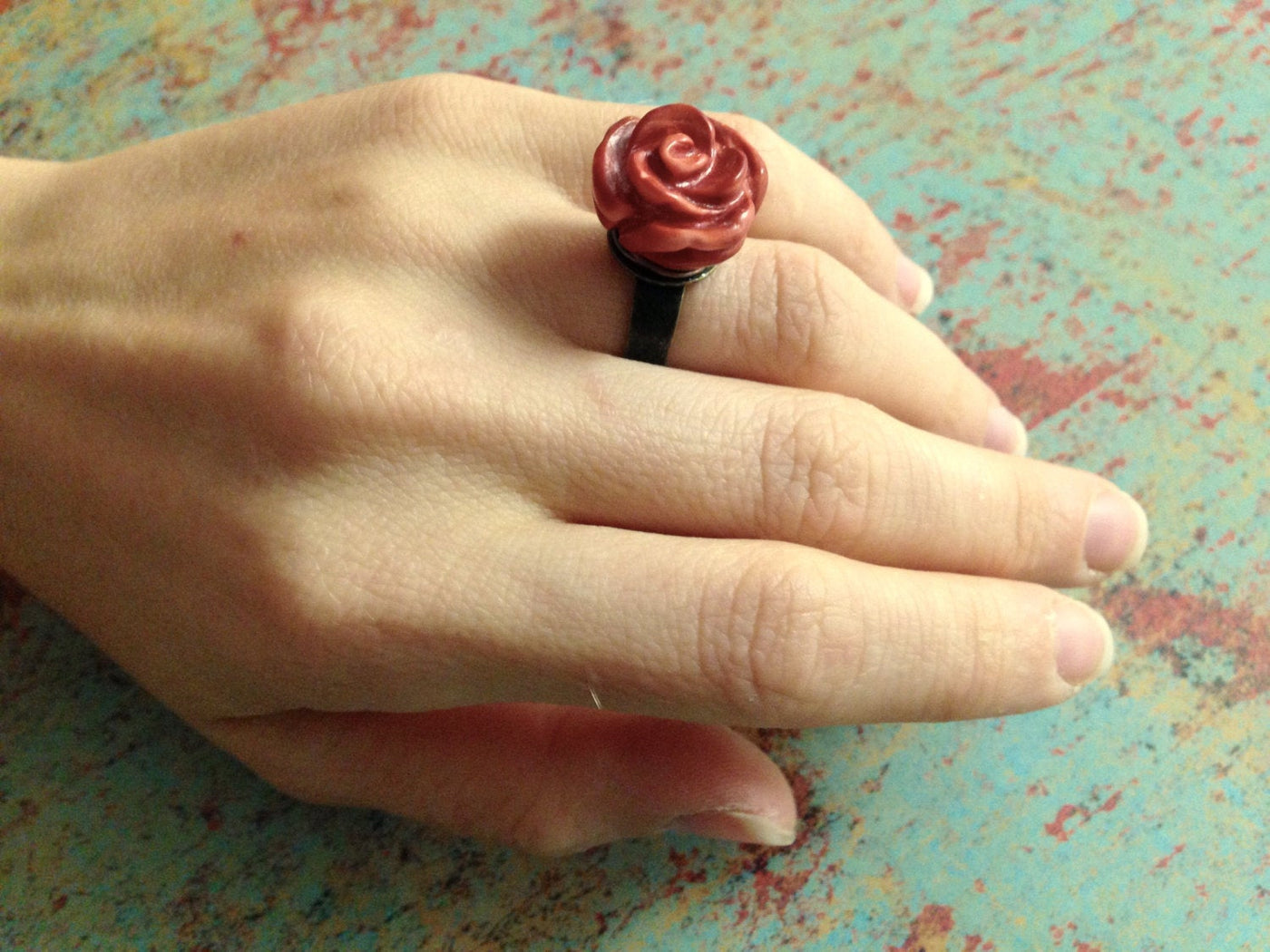 Boho Rose Ring, Pearl Rose Ring