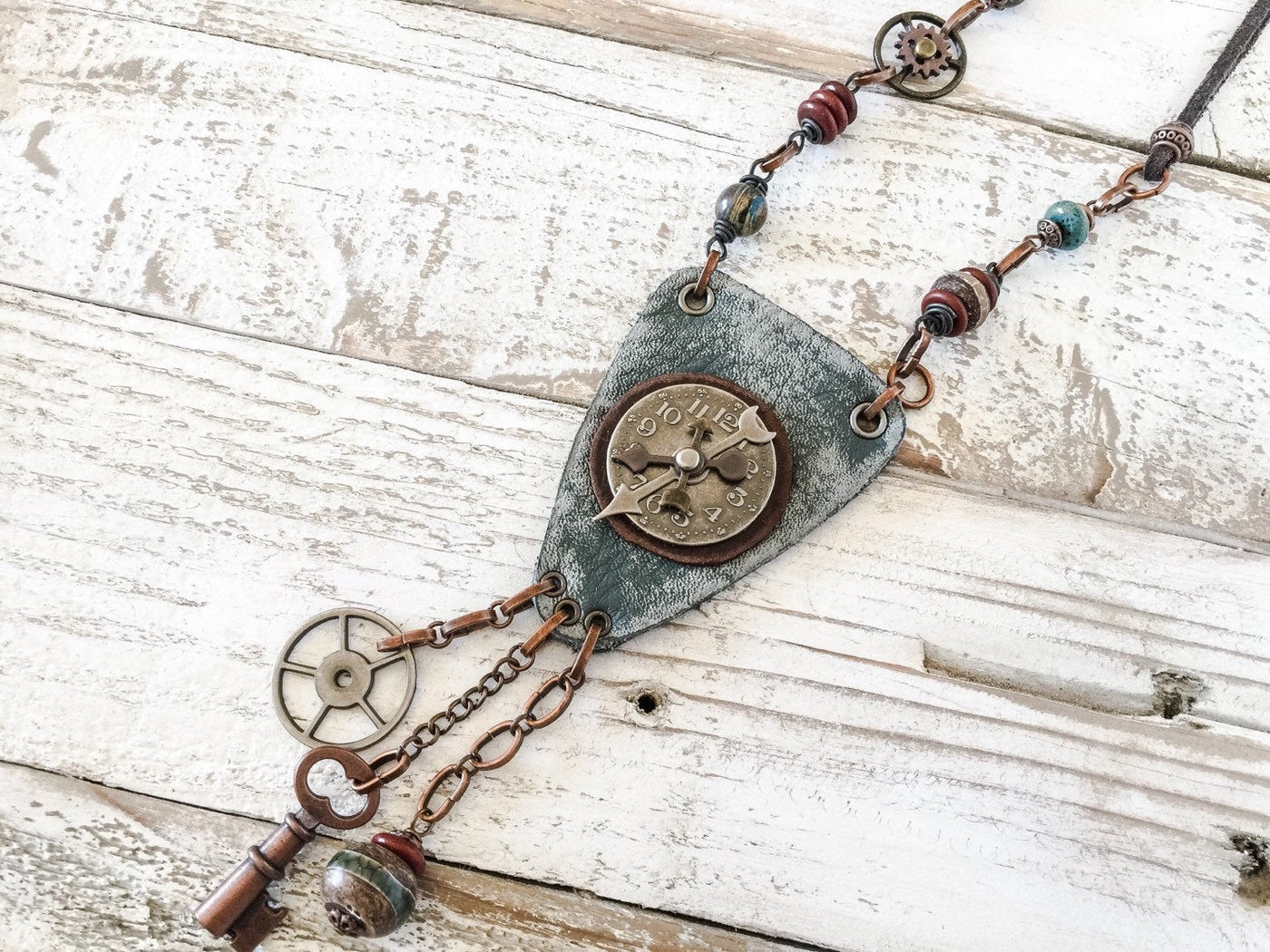 Steampunk Bohemian Clock Necklace - Agate Gear Cog Key Stone Antique Vintage Hippie Leather Boho Earthy Rustic Gypsy Unique Handmade Jewelry