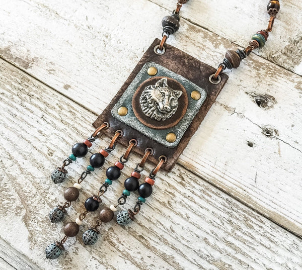 Gypsy Wolf Spirit Boho Wolf Native Necklace, Hippie Leather Ethnic Symbol Bohemian Necklace
