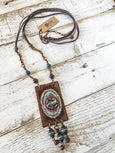 Bohemian Framed Bird Necklace, Hippie Leather Necklace, Gypsy Frame Necklace N174