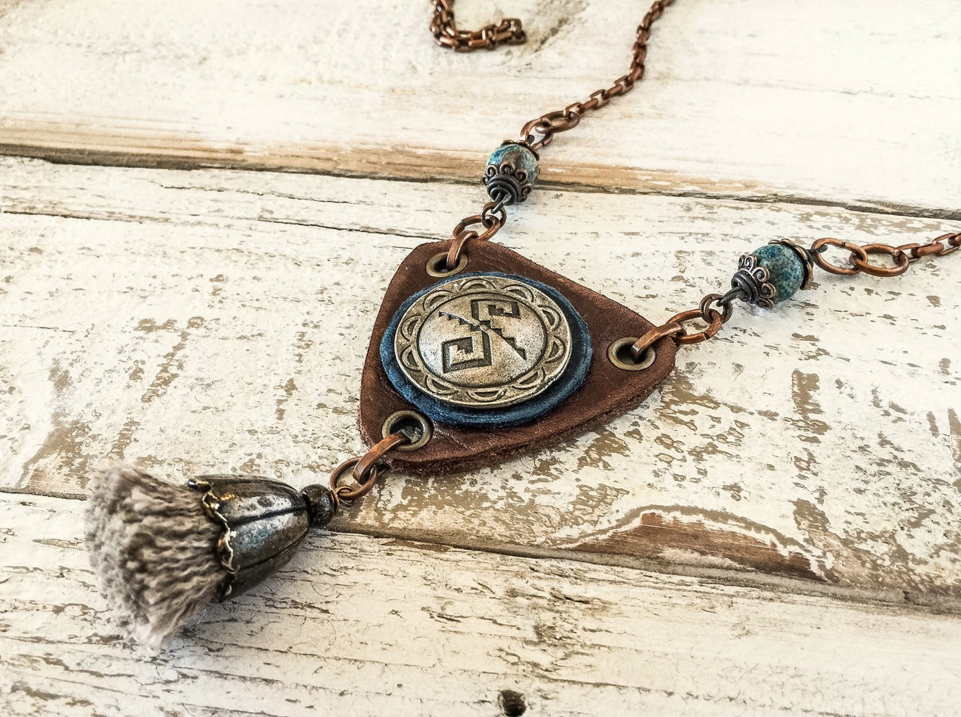 Ethnic Leather Boho Gypsy Rustic Earthy Tassel Blue Jasper Long Necklace, Southwestern Vintage Triangle Engraved Metal Distressed Jewelry