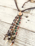Boho Quartz Necklace, Gypsy Spirit Necklace, Bohemian Crystal Necklace, Quartz Druzy Long Necklace, N098