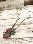 Boho Long Agate Necklace, Gypsy Spirit Necklace, Bohemian Patina Necklace, Rustic Metal Necklace, N177
