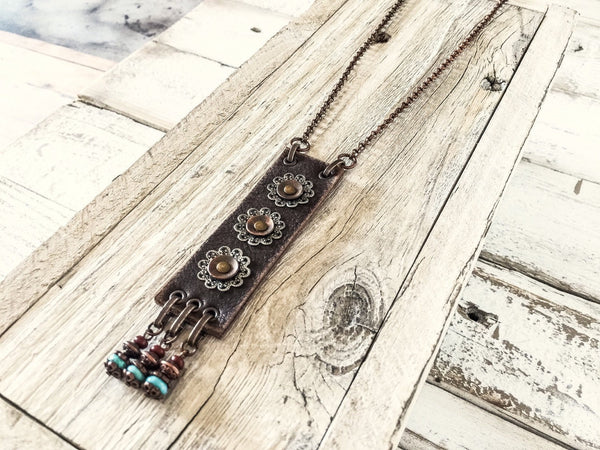 Boho Leather Long Gypsy Metal Filigree Ethnic Necklace, Rustic Earthy Hippie Turquoise Blue Stone Statement Bohemian Distressed Jewelry