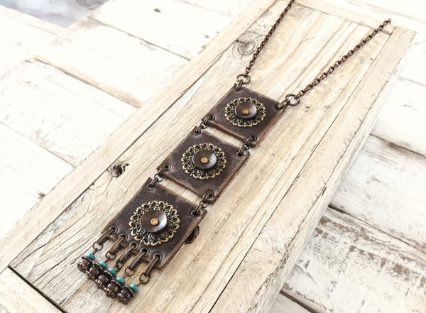 Boho Leather Necklace, Bohemian Statement Necklace, Gypsy Long Necklace, Rustic Style Necklace, N102