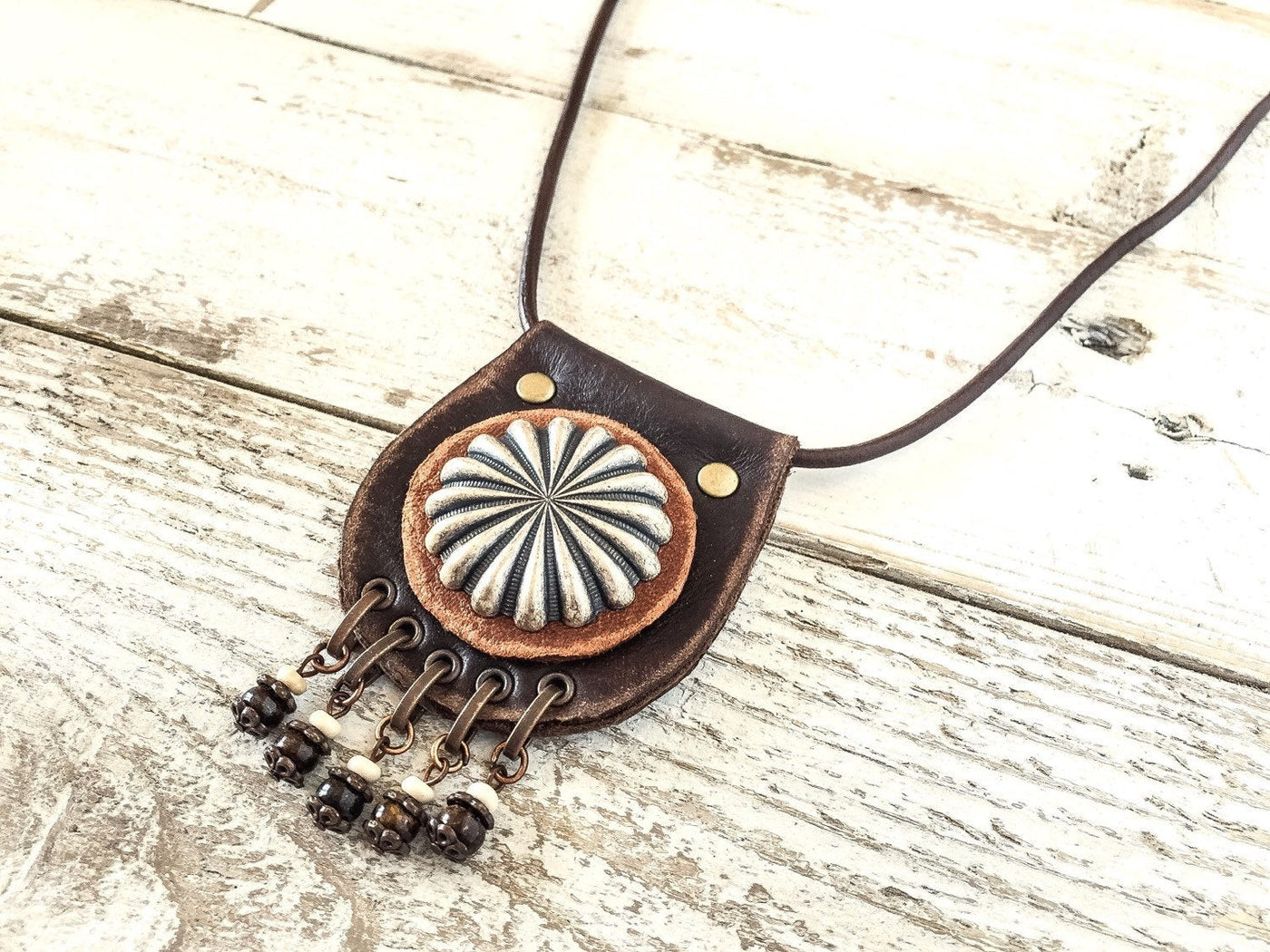 Long Leather Necklace, Boho Necklace, Leather Gypsy Necklace, Hippie Style Jewelry, N100