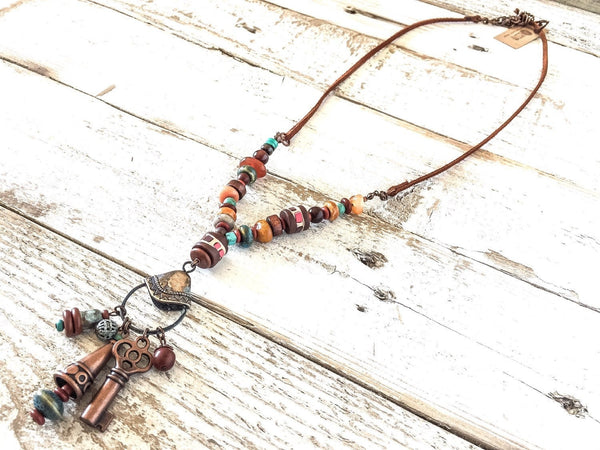 Boho Long Stone Necklace, Gypsy Spirit Necklace, Bohemian Charm Necklace, Rustic Necklace, N101