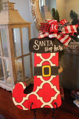 Stocking door hanger - Santa Stops Here