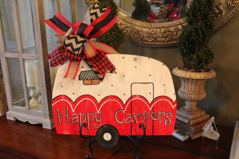 "Camper door hanger - Red ""Happy Campers"""