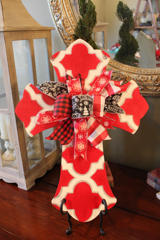 Cross door hanger - red and white