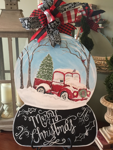 Snowglobe side view of Truck door hanger