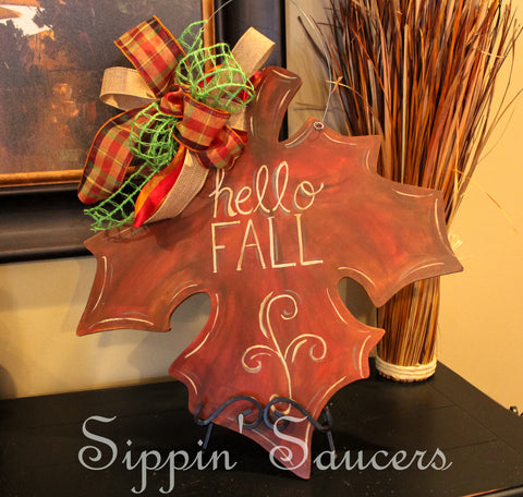 "Fall Autumn Leaf Door Hanger ""Hello Fall"""