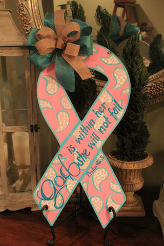 Breast Cancer Awareness Ribbon Door Hanger
