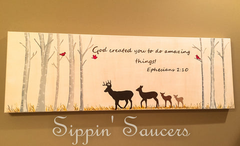 Deer Scripture Hand Painted Canvas Customize