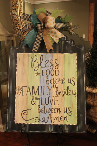 Bless The Food Plaque Door Hanger