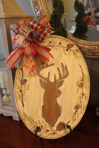 Deer door hanger - Silhouette with pine
