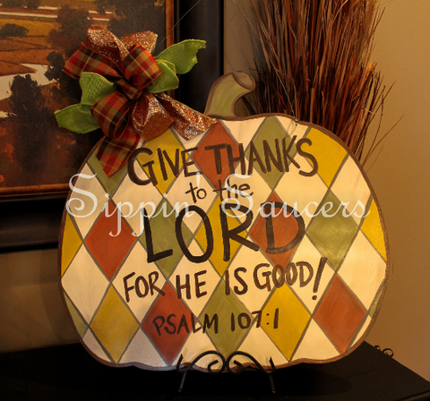 "White Argyle Pumpkin Door Hanger ""Give Thanks to the Lord for He is Good"" Psalm 107:1"