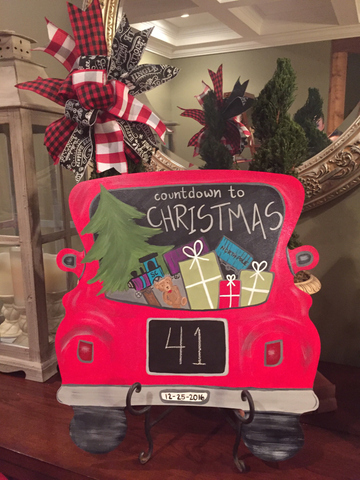 Truck Countdown to Christmas door hanger