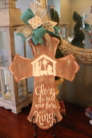 Cross door hanger with Nativity