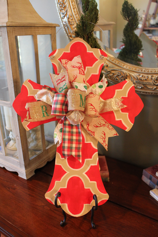 Cross Door hanger -  red n beige
