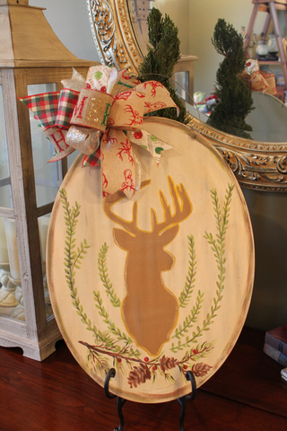 Deer door hanger - Silhouette with crest