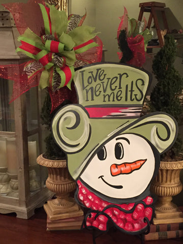 Snowman face door hanger - green hat