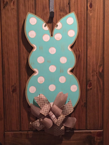 Bunny - Teal with white polka dots