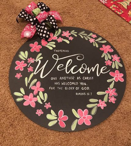 Welcome Door Hanger with verse