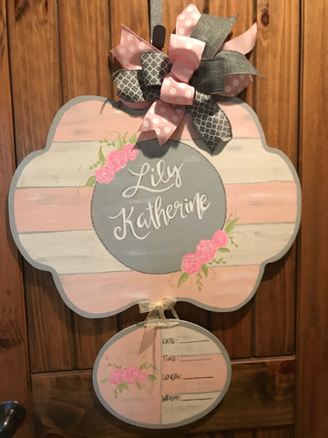 Baby Girl Door Hanger - pink and grey