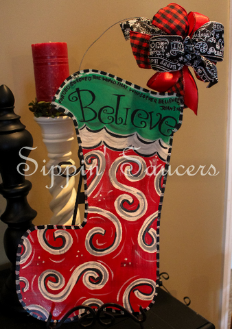 Believe Christmas Stocking Door Hanger John 3:16