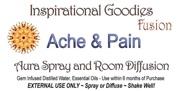 Aches and Pains Aromatherapy Gem Water Elixir Essential Oil Essence Fusion Spray