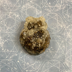 Turitella and Rainbow Moonstone Orgone and Crystal Owl Animal Totem Reiki Healing