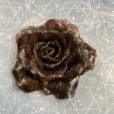 Shungite Orgonite Rose - Red tinted Resin and Crystals - EMF buster Rainbow Moonstone, Labradorite, Clear Quartz, Shungite, Selenite