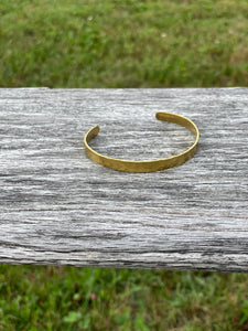 Bracelet Hammered Cuff Brass  ~ Maine Made Jewelry
