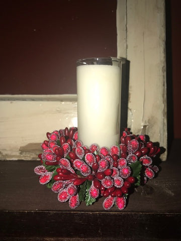 Candle /  Votive / Red Wreath / HOLIDAY FESTIVAL