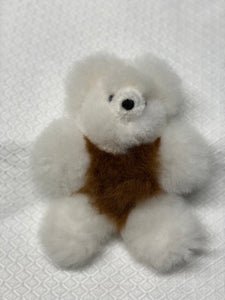 "ALPACA TEDDY BEAR  White & Brown 7.5""  pocket size*"